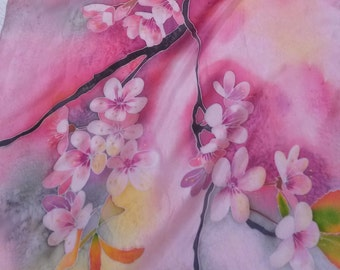 Silk scarf Hand painted  Pink  scarf Cherry blossoms Sakura  Handmade     Flowers Silk painting Batik  Gift for woman Gift for sister