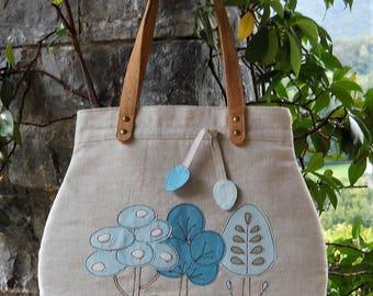 Linen bag Joy appliquè finished by free motion