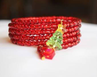 Christmas Bracelet, Memory Wire, Swarovski Crystals,
