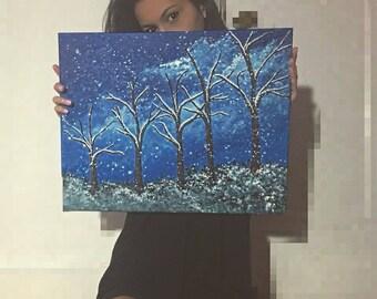 Snow Trees Acrylic Painting