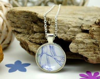 Snowdrop Jewellery, Purple Necklace, Handmade Jewelry, Nature Lover Gift, Girlfriend Necklace, Spring Wedding, Flower Necklace