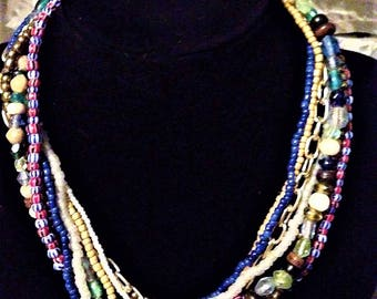 Eight different strands of  beads necklace! FREE shipping in the USA!