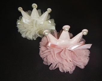 Pearl Crown For Girl, Pearl Tiara, Pink Tiara for Girl, Ivory Tiara for Girl, Pink Crown for Girl, Girls Crown, Baby Tiara, Baby Crown
