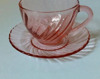 Arcoroc France Rosaline Pink Swirl Cup and Saucer Set
