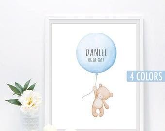 Baby boy shower gift, Custom name print, Birth stats gift, Nursery print, Balloon nursery decor, Bear wall art