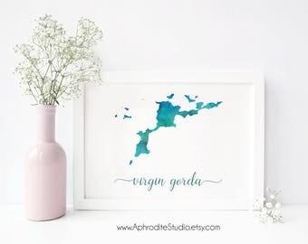 Virgin Gorda digital print - BVI watercolor poster - Travel Decor Gift for travel lover British Virgin Islands art print BVI map watercolor