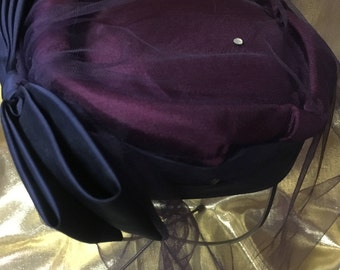 1960's Burgundy and Navy Blue Pillbox Style Hat with Veil and Rhinestones