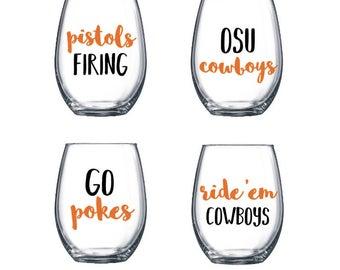 Oklahoma State Wine Glasses // Stemless Wine Glasses Set of 4 // Pistols Firing // OSU Cowboys // Ride E'm Cowboys // Go Pokes // College