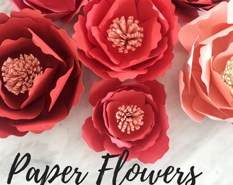 Paper peony template | flower template | paper flower backdrop | flower backdrop DIY | rose template | paper flower template | paper flower