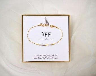 BFF: Morse Code Bracelet, Friendship Bracelet, Simple and Dainty, Personalized Gift, Bridesmaid Gifts, Modern Retro