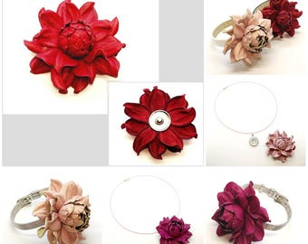 Snap charm GENUINE bright red leather rose flower on a snap bracelet or a snap necklace | Unique snap jewelry | Leather flower snap buttons