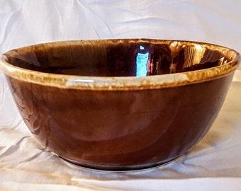 "Vintage American McCoy Pottery 8.5""  Brown Drip Glaze Ceramic Bowl -7028"