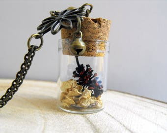 Real Pinecone necklace Vial necklace Pine cone necklace Pinecone pendant Nature jewelry Red Pinecone jewelry Nature inspired necklace Bottle