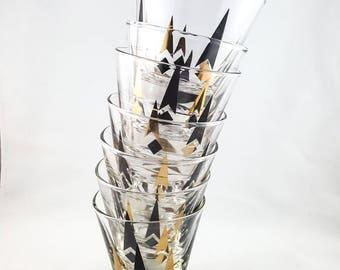 Mid Century Atomic Tapered Lo Ball Whiskey Glasses Barware Set of 7