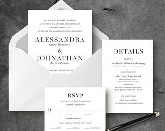 Modern Serif Wedding Invitation Set - Printable
