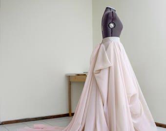 Blush wedding dress etsy blush wedding skirt with train nude bridal skirt pink train draped skirt ball gown skirt layered junglespirit Images
