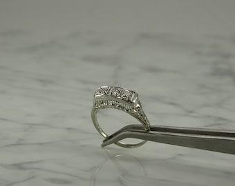 Antique 10K White Gold /3 Diamond Filigree Ring (size 9 1/2)