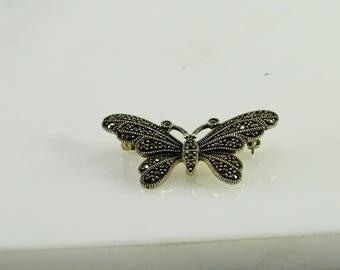 Marcasite Sterling Butterfly Brooch
