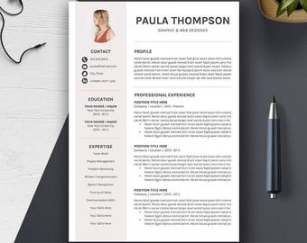 Creative Resume Template, Cover Letter, 1, 2, 3 Page, CV Template Word, Professional Modern Simple Design, Digital Instant Download, PAULA