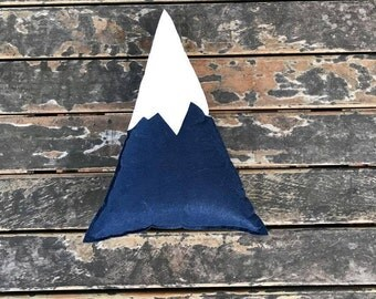 blue mountain pillow,decorative pillow,mountain pillow,pillow,kids pillow,kids toys,felt mountain pillow