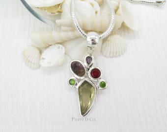 Lemon Topaz Purple Drusy Amethyst Garnet and Peridot Sterling Silver Pendant and Chain