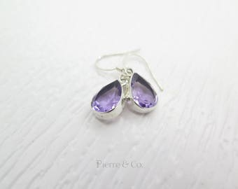 14 Carats Teardrop Cut Amethyst Sterling Silver Earrings