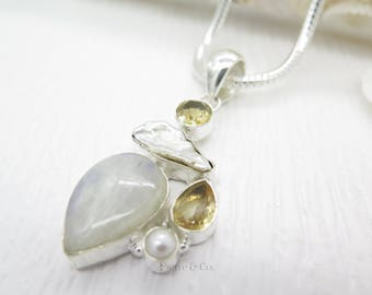 Moostone Citrine and Fresh Water Pearl Sterling Silver Pendant and Chain