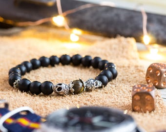 8mm - Matte black onyx beaded double silver skull and a tiger eye bead, stretchy bracelet, yoga bracelet, mens bracelet, womens bracelet