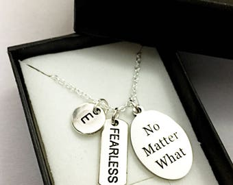 Custom Fearless Necklace.Be Fearless Necklace.Fearless Necklace.Surviver Necklace.Fear Not.Fearless Necklace.Motivational.Survivor Gift