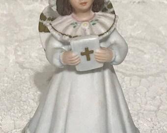Vintage Ceramic Musical Angel Girl Figurine