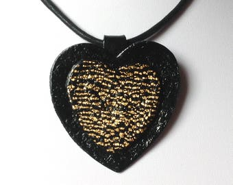 Pendant heart black and gold/cord offered / polymer and gold foil / handmade