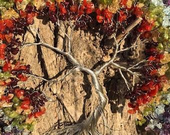 "Sun Catcher Tree of Life - Rainbow Tree 10"""