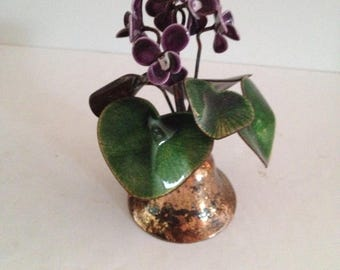 Bovano of Cheshire Copper Mid-Century Enamel on Copper Violet Flowers and Leaves Hammered Metal Bell - Designed by P. C. Marshall