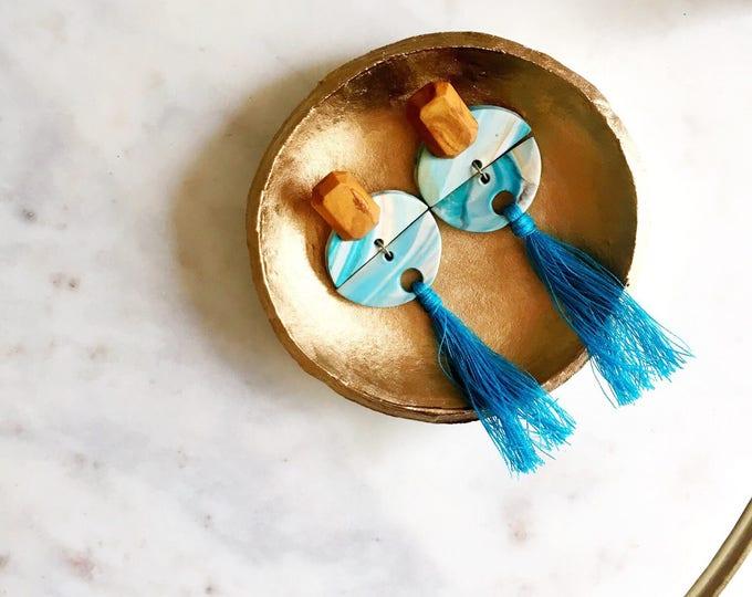 Featured listing image: TURQUOISE & GOLD EARRINGS // Polymer Clay Earrings, Tassel Earrings, Dangle Earrings, Statement earrings