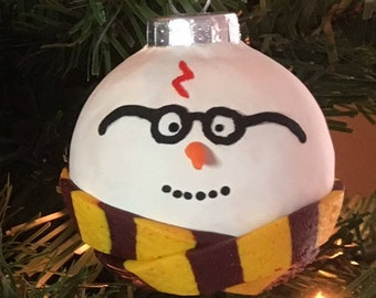 Wizard Snowman Ornament, Harry Potter Inspired, Hand Sculpted, Christmas, Glass, Polymer