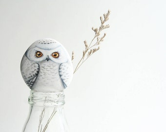"""Snow Owl Stone Painting Digital download photography 10""""x8""""for Decorate wall art."""