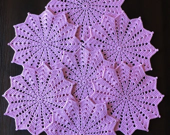 Crocheted doily - Table mat - Table topper - Lace wipes - Crochet coasters - Rustic decor - Drink coasters - Coffee Table Doily - Open-work.