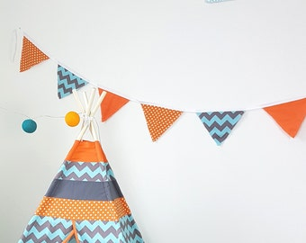 3 styles Orange Teal Gray Blue Flag banner, Surprise Fabric Flag Bunting Photo Prop, Wedding, Room Decor, Party, Birthday, Ready To Ship