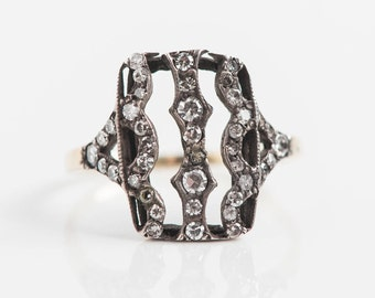 Blackened Silver Yellow Gold | Scallop Filigree Details | Antique Diamond Ring