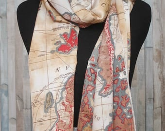 Nautical map theme Silk Scarf for Women, History Themed head scarf, oblong Map Print, Matte, Gift for her, Travel themed gift, world map
