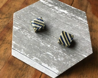 Square striped ceramic earblings
