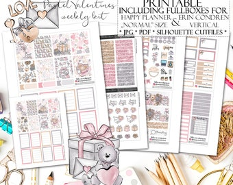 Pastel Valentines Planner Stickers/Happy Planner Stickers/Printable Planner Stickers/Printable Valentines Stickers for Erin Condren Lifeplan