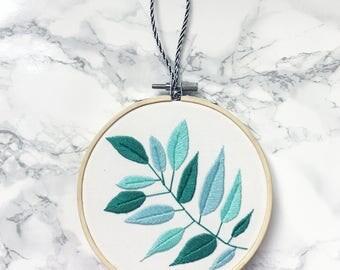 Leaf Embroidery Hoop- Botanical Embroidery, Embroidered Hoop Art, Plant Embroidery, Embroidered Plant Hoop