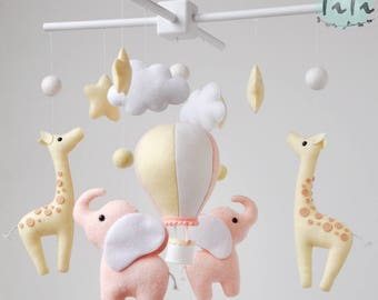 Personalized Elephant giraffe baby mobile, felt baby mobile, hot air balloon mobile, balloon mobile, felt elephant, elephant giraffe mobile