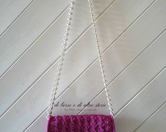 GIULIETTA-cyclamen crochet bag with chain strap
