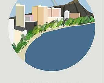 Honolulu, hawaii, aloha, city art, city, illustration, digital, art print