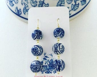 Blue and White Dangle Earrings | chinoiserie, navy, blue and white, porcelain, Chinese, gold, beaded, drop, bonbon, royal blue