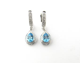Vintage 14 Karat White Gold Blue Topaz and Diamond Earrings #2423