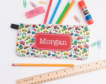 Back to School, First Day, Personalized Pencil Case, Boys Pencil Case, Personalized Trucks Pencil Bag, Personalized Zipper Pouch 0249