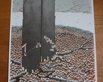Inktober A3 Print - Sword City